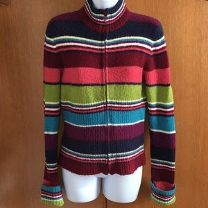 Multi Color Stripe Sweater Zip Cardigan Acrylic M